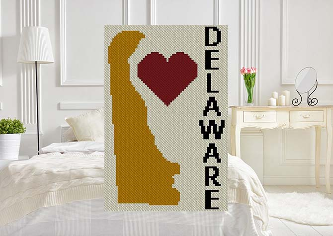 Heart Delaware C2C Crochet Pattern