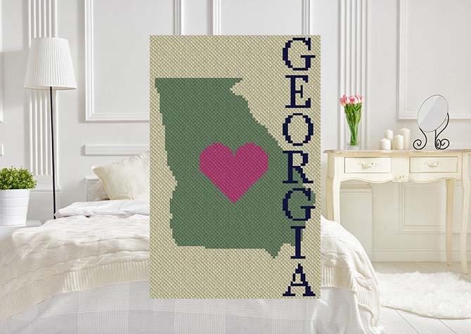 Heart Georgia C2C Crochet Pattern