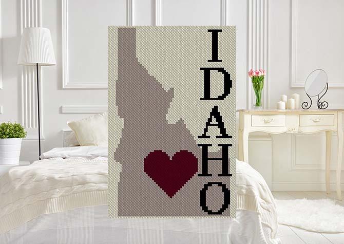 Heart Idaho C2C Afghan Crochet Pattern