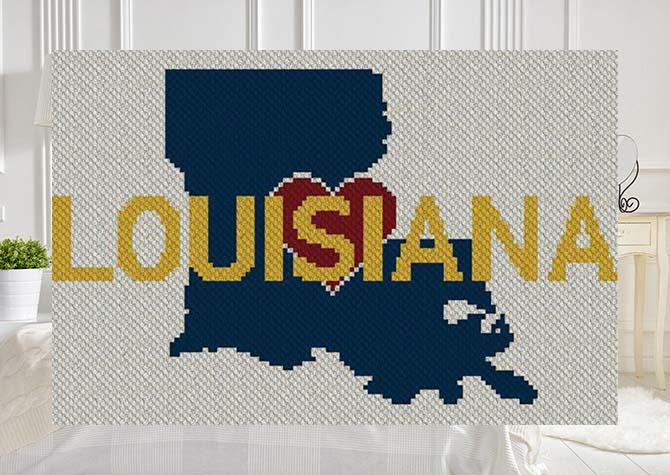 Heart Louisiana C2C Afghan Crochet Pattern