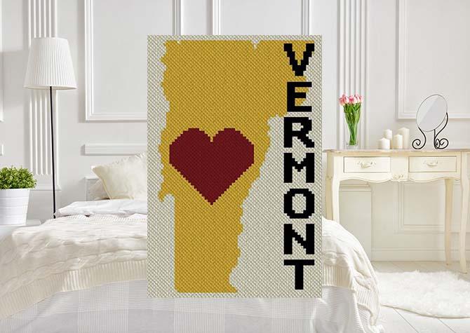 Heart Vermont C2C Afghan Crochet Pattern