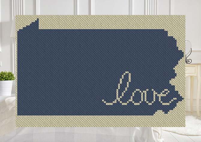 Pennsylvania Love C2C Afghan Crochet Pattern