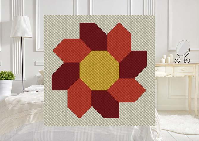 Septembers Sunflower C2C Afghan Crochet Pattern