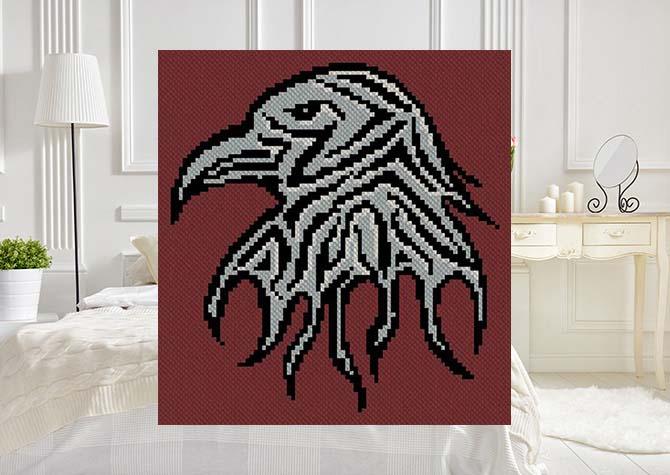 Shades of the Raven C2C Crochet Pattern