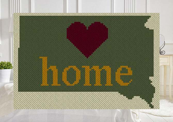 South Dakota Home C2C Afghan Crochet Pattern