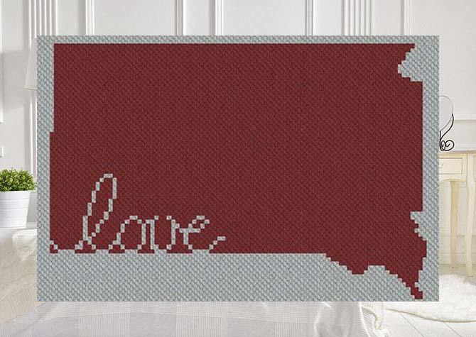 South Dakota Love C2C Afghan Crochet Pattern
