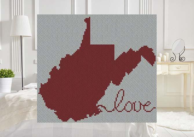West Virginia Love C2C Afghan Crochet Pattern