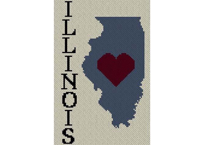 Heart Illinois C2C Afghan Crochet Pattern