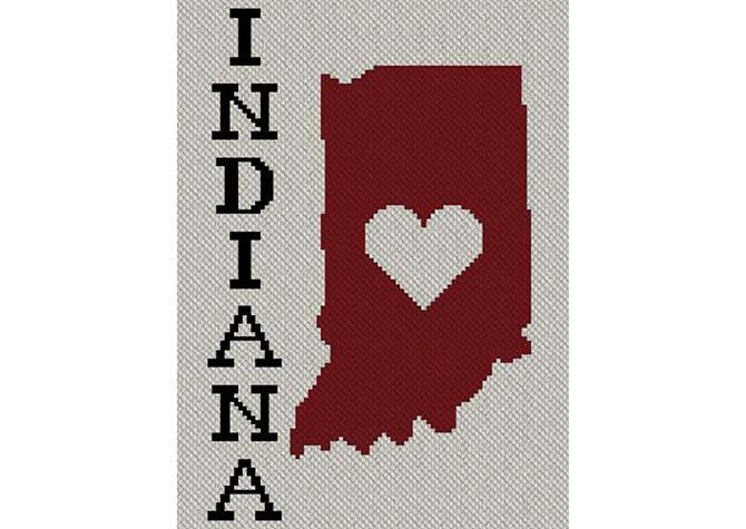 Heart Indiana C2C Afghan Crochet Pattern