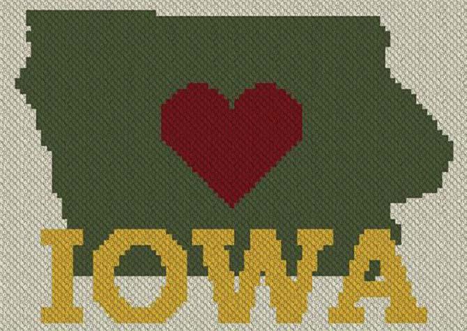 Heart Iowa C2C Afghan Crochet Pattern
