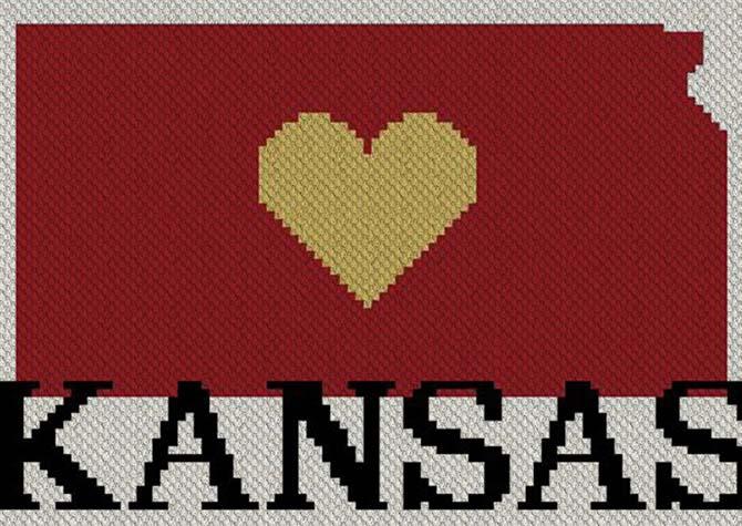 Heart Kansas C2C Afghan Crochet Pattern