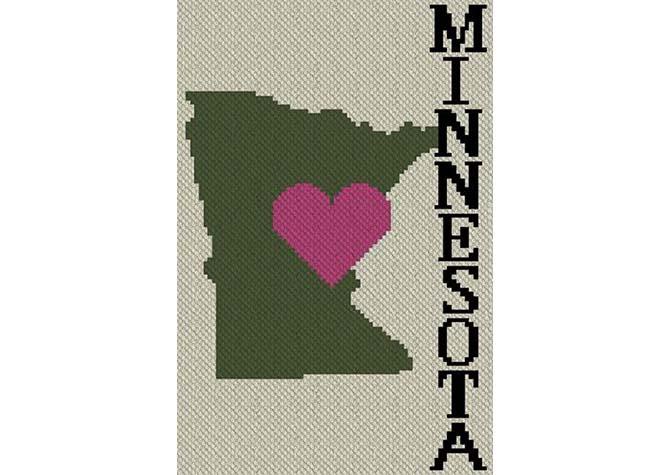 Heart Minnesota C2C Afghan Crochet Pattern