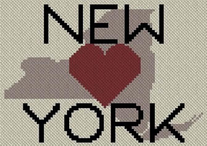 Heart New York C2C Afghan Crochet Pattern Design 2