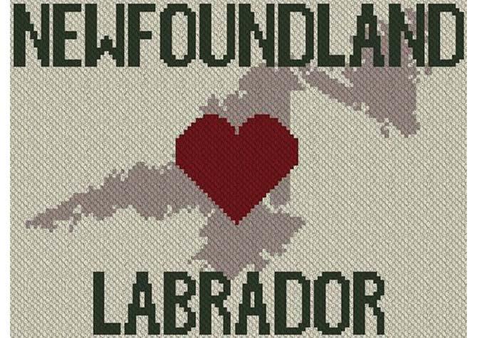 Heart Newfoundland Labrador C2C Afghan Crochet Pattern