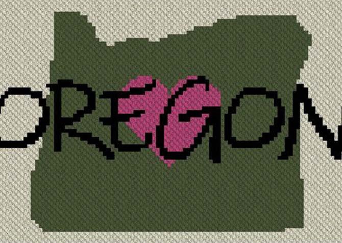 Heart Oregon C2C Afghan Crochet Pattern