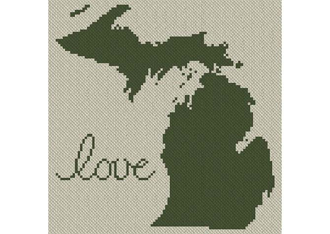 Michigan Love C2C Afghan Crochet Pattern