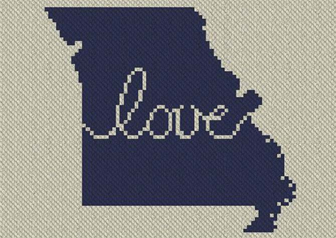 Missouri Love C2C Afghan Crochet Pattern