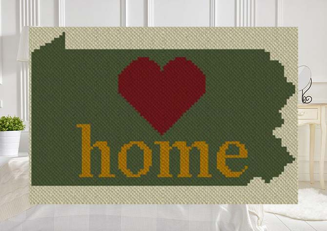 Pennsylvania Home C2C Afghan Crochet Pattern