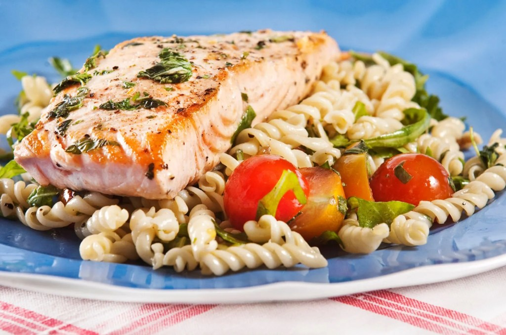 Salmon Pasta Healthy Lunch Dinner