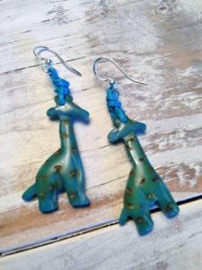 Tagua Earrings Blue Giraffes