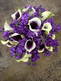 Purple stock and Picasso calla bridal bouquet
