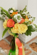 Bridal bouquet of garden roses, stock and ferns - Bumby Photography