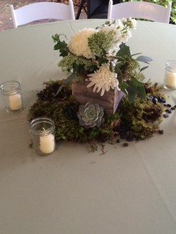 White wash boxes, mason jars with seeded eucalyptus, football mums, Veronica, stock and more