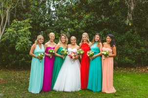 Maids in bright colored dresses