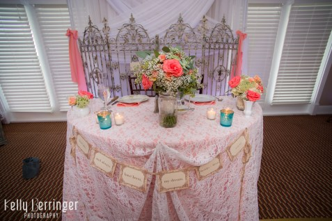 Sweetheart table with bridal bouquet, lace, and mercury.