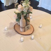 Reception Centerpiece, Wood, Twine, and flowers