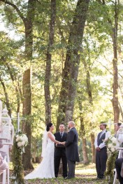 Outdoor wedding ceremony in the forest, white lantern ceremony decor - Bluegrass Chic Floral