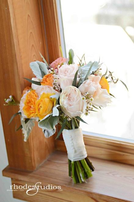 Bridal Bouquet; Rhodes Studios; Ranunculus; Garden Roses; Dahlias; Dusty Miller