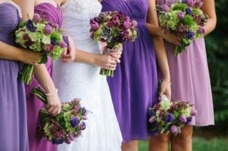 Isola Farms Wedding; Purple Tulip, Purple Wax, Green Hydrangea Bridal Bouquet