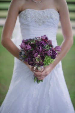 Isola Farms Wedding; Purple Tulip, Purple Wax, Green Hydrangea Bridal Bouquet