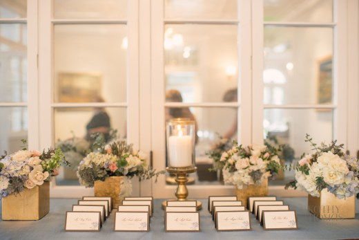 Escort card table floral and candle light
