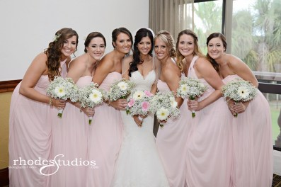 Bridal bouquet filled with babies breath and blush and white gerber daisies & maids' bouquets filled with babies breath and white gerber daisies.