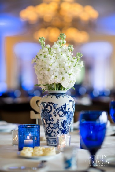 Each vase had a unique design and altering floral of tulips, hydrangea and stock