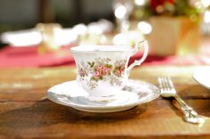 Elegant china for the guests to sip tea or coffee.