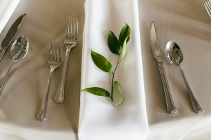 Each place setting had a sprig of greenery; Details!