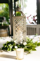 Lanterns with a ring of greens and simple floral