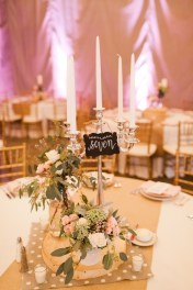 Centerpieces with brunia, queens anne lace, seeded eucalyptus, and roses.