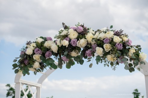Wedding Arch with lavender and white roses, eucalyptus and mums