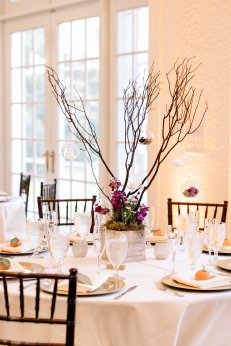 jewel tone centerpiece, estate wedding, southern wedding, central florida florist, bluegrass chic, fairy garden, tree branch, centerpiece floral