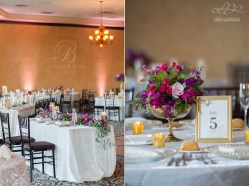 Short centerpieces designed in a gold mercury compote with gold mercury votives surrounding created one beautiful, cohesive look for this wedding.