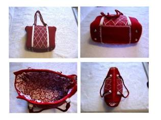 Felted red and white handbag
