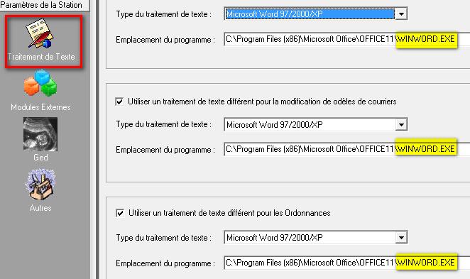 GYNADMIN : Traitement de texte