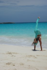 Krista Cahill yoga babe on beach in Bahamas