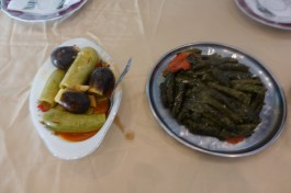 Stuffed eggplant, zucchini, and grape leaves