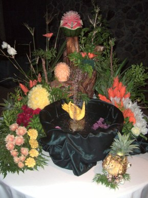 Flowers carved from fruit in Thailand