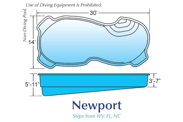In Ground Fiberglass Swimming Pool Shell for Sale in Michigan Newport